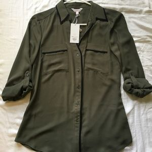 Candie's Button Up Collar Olive Green Shirt